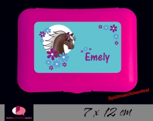 Aufkleber für Brotdosen | Pony Blumen - türkis | personalisierbar | große Namensetiketten, Schuletiketten