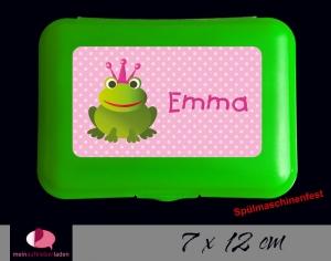 Aufkleber für Brotdosen | Frosch - rosa | personalisierbar | große Namensetiketten, Schuletiketten   - Handarbeit kaufen
