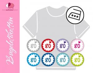45 mini Bügeletiketten 2cm Ø | Größenlabel - Herzchen | dauerhafte Kleidungsetiketten zum aufbügeln  - Handarbeit kaufen