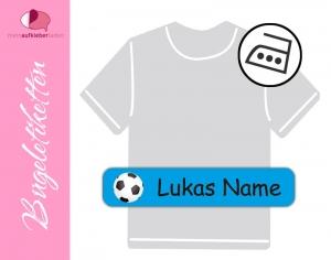 48 Bügeletiketten 1 x 5 cm | Fußball - blau | permanent,  personalisierbar, dauerhafte Kleidungsetiketten zum aufbügeln