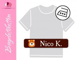 48 Bügeletiketten 1 x 5 cm | Bär - orange | permanent,  personalisierbar, dauerhafte Kleidungsetiketten zum aufbügeln