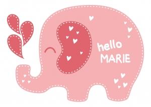 Wandtattoo | Elefant -  mit Name personalisierbar | Türaufkleber für Kinderzimmer