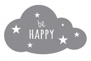 Wandtattoo | große Wolke - Be Happy | Dekoaufkleber für Kinderzimmer - Handarbeit kaufen
