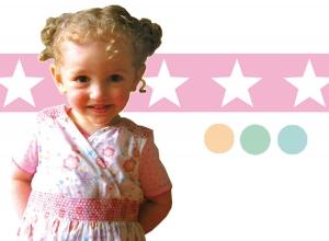 Kinderbordüre - selbstklebend   Große Sterne - pastellfarben - 10 cm Höhe   Vlies Bordüre mit großen Sternen - Handarbeit kaufen