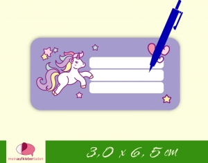 24 Heftaufkleber 3,0 x 6,5 cm | Einhorn - lila | Schuletiketten zum selber beschriften - Handarbeit kaufen