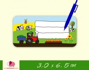 24 Heftaufkleber 3,0 x 6,5 cm | Bauernhof  - Traktor | Schuletiketten zum selber beschriften  - Handarbeit kaufen