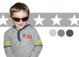 selbstklebende Kinderbordüre | Sterne - grau | Vlies Bordüre mit großen Sternen