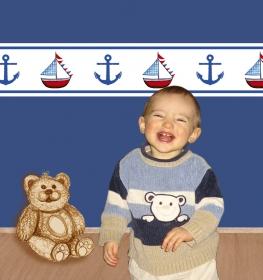 selbstklebende Kinderbordüre | Anker & Segelschiff | Vlies Bordüre mit maritimen Motiven