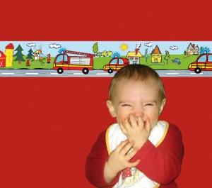 Kinderbordüre - selbstklebend | Feuerwehr - 18 cm Höhe | Vlies Bordüre mit Feuerwehrautos - Handarbeit kaufen