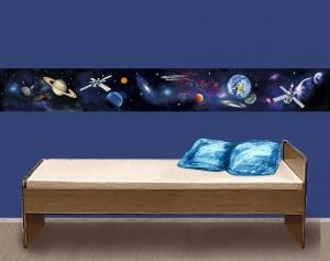 selbstklebende Kinderbordüre | Weltall | Vlies Bordüre mit Raumschiffe & Planeten