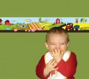 Kinderbordüre - selbstklebend | Bauernhof - 18 cm Höhe | Vlies Bordüre mit Tieren, Windmühle, Feldern  & Traktor - Handarbeit kaufen