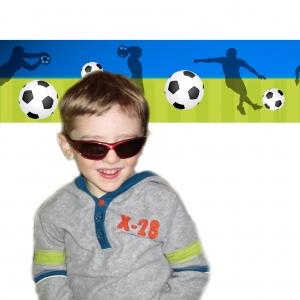 Wandbordüre - selbstklebend | Fußball - 18 cm Höhe | Vlies Bordüre mit Fußbällen und Spieler - verschiedene Farbvarianten - Handarbeit kaufen