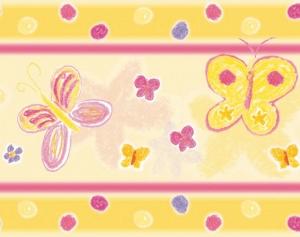 selbstklebende Kinderbordüre | Schmetterlinge | Vlies Bordüre nach Pastellkreide - Art