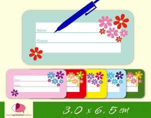 24 Heftaufkleber | Blumen | Schuletiketten zum selber beschriften