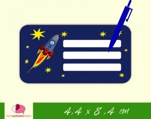 12 Heftaufkleber 4,4 x 8,4 cm | Rakete | Schuletiketten zum selber beschriften  - Handarbeit kaufen