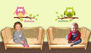 Türaufkleber | Kleine Eule mit Wunschname in vielen Farben  | Wandtattoo für Kinderzimmer - Handarbeit kaufen