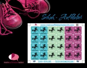 24 Schuhaufkleber | Wildpferd + Schutzfolie - personalisierbar | Namensaufkleber, Schuhetiketten