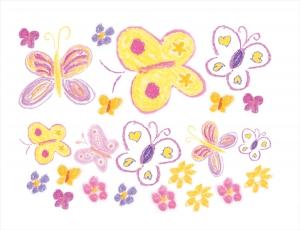 Wandtattoo-Set | Schmetterlinge nach Pastellkreide-Art | 23 teiliges Wandtattoo für Kinderzimmer - Handarbeit kaufen