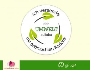 Verpackungsaufkleber - rund: Blätterkreislauf | Der Umwelt zuliebe - Versand mit gebrauchten Kartons  - Handarbeit kaufen