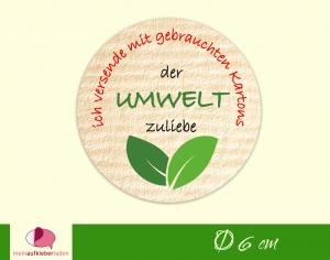 Verpackungsaufkleber - rund: Blätter | Der Umwelt zuliebe - Versand mit gebrauchten Kartons  - Handarbeit kaufen
