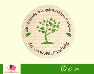 Verpackungsaufkleber - rund: Baum - grün | Der Umwelt zuliebe - Versand mit gebrauchten Kartons   - Handarbeit kaufen