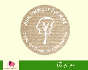 Verpackungsaufkleber - rund: Baum - weiß | Der Umwelt zuliebe - Versand mit gebrauchten Kartons   - Handarbeit kaufen