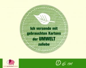 Verpackungsaufkleber - rund: Blatt - grün   Der Umwelt zuliebe - Versand mit gebrauchten Kartons   (Kopie id: 100246985) - Handarbeit kaufen