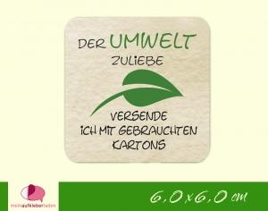 Verpackungsaufkleber - eckig: Blatt - grün | Der Umwelt zuliebe - Versand mit gebrauchten Kartons - Handarbeit kaufen