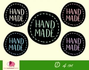 DIY - Aufkleber rund | Handmade - schwarz | personalisierbar  - Handarbeit kaufen