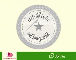 DIY - Aufkleber rund | Mit Liebe selbstgenäht - grau mit Stern