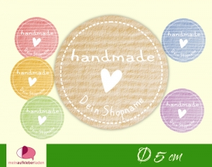 DIY - Aufkleber rund | handmade - bunt mit Herz - personalisierbar - Kraftpapieroptik - Handarbeit kaufen