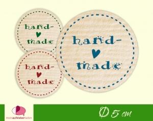 DIY - Aufkleber rund | handmade - Herz - Kraftpapieroptik  - Handarbeit kaufen