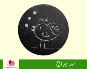 DIY - Aufkleber rund   mit Liebe - Vogel mit Herzchen - Tafeloptik - Handarbeit kaufen
