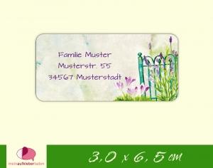 24  Adressaufkleber eckig | Lavendel am Zaun - Watercolor - umweltfreundlich  - Handarbeit kaufen