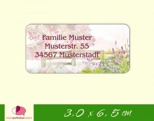 24  Adressaufkleber eckig | Gartenzaun - Watercolor - umweltfreundlich   - Handarbeit kaufen