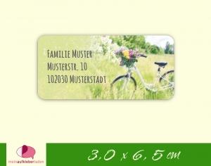 24  Adressaufkleber eckig | weißes Fahrrad mit Blumen 1 - umweltfreundlich   - Handarbeit kaufen