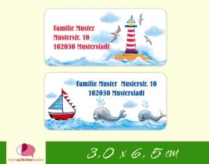 24  Adressaufkleber eckig | Leuchtturm - Segelboot - Wale - umweltfreundlich  - Handarbeit kaufen