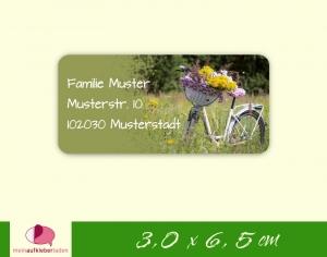 24  Adressaufkleber eckig | weißes Fahrrad mit Blumen 2 - umweltfreundlich  - Handarbeit kaufen