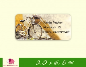 24  Adressaufkleber eckig | nostaligisches Fahrrad - umweltfreundlich  - Handarbeit kaufen