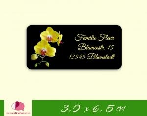 24  Adressaufkleber eckig | gelbe Orchidee - umweltfreundlich - Handarbeit kaufen