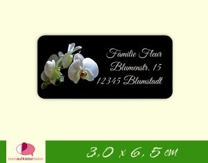 24  Adressaufkleber eckig | weiße Orchidee - umweltfreundlich  - Handarbeit kaufen