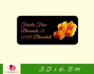 24  Adressaufkleber eckig | orange Orchidee - umweltfreundlich - Handarbeit kaufen