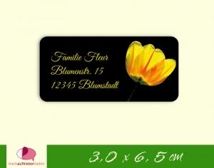 24  Adressaufkleber eckig | gelbe Tulpe - umweltfreundlich   - Handarbeit kaufen