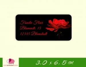 24  Adressaufkleber eckig | rote Rose - umweltfreundlich  - Handarbeit kaufen
