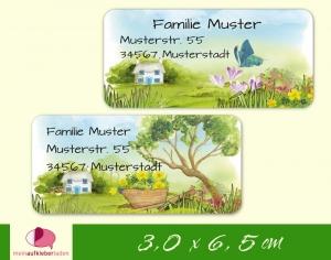 24  Adressaufkleber eckig | Haus im Garten - Watercolor - umweltfreundlich - Handarbeit kaufen