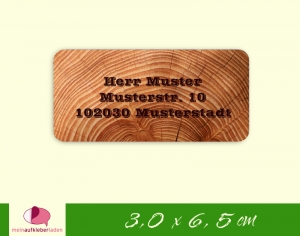24  Adressaufkleber eckig | Holz 2 - umweltfreundlich  - Handarbeit kaufen