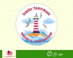 30 Adressaufkleber rund |  Leuchtturm - umweltfreundlich   - Handarbeit kaufen
