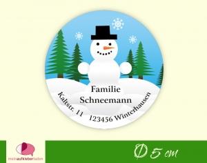 30 Adressaufkleber rund |  Schneemann - umweltfreundlich   - Handarbeit kaufen