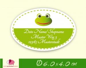 36 Adressaufkleber oval |  Frosch - umweltfreundlich   - Handarbeit kaufen