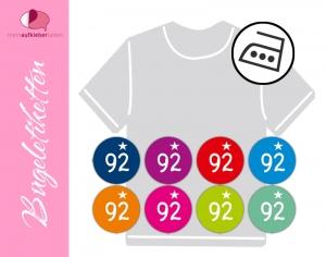 45 mini Bügeletiketten 2cm Ø | Größenlabel - Sternchen 3 | dauerhafte Kleidungsetiketten zum aufbügeln  - Handarbeit kaufen